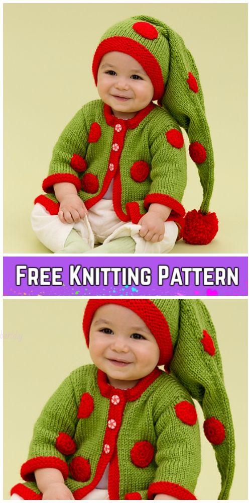 Knit Baby Santa Sweater Cardigan Free Knitting Patterns   CROCHET ...