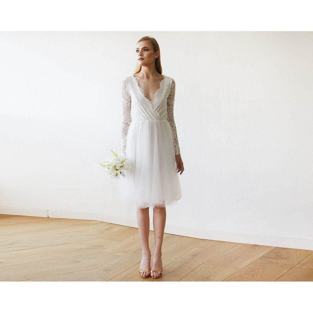 Ivory tulle u lace midi long sleeves dress ivory and products