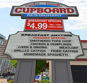 The Cupboard Sign Memphis Restaurants Grilled Catfish Homemade Spaghetti