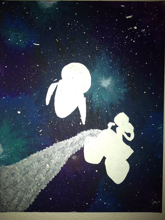 Wall E And Eve Galaxy Painting Galaxy Painting Galaxy