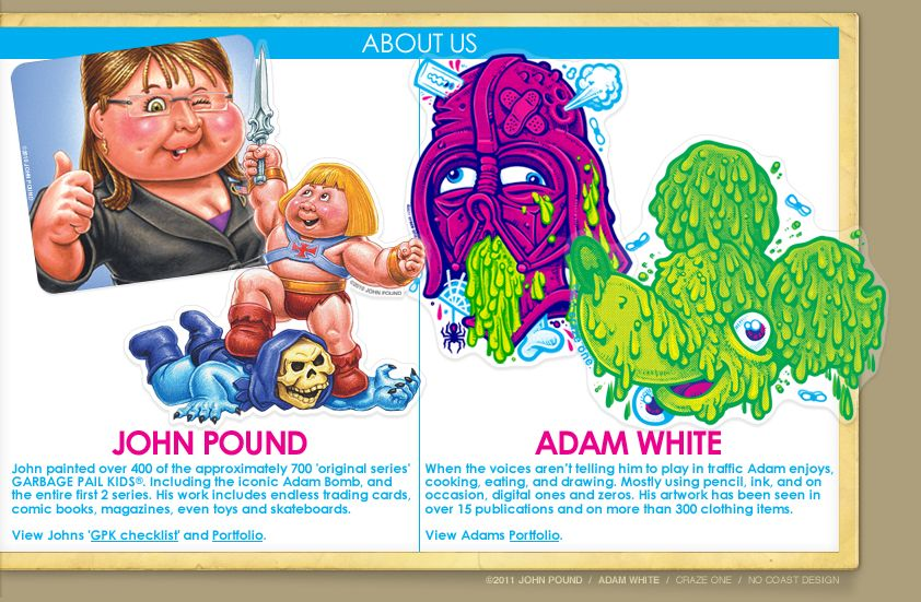 Garbage pail kids · john pound x adam white • sticker pack • slime time snack pack