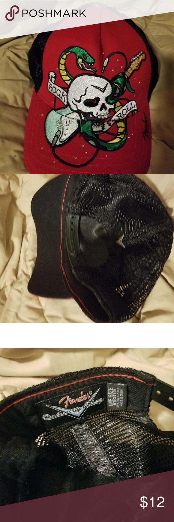 aeab41966b0 FENDER TRUCKER CAP Red with Skull embellished with rhinestones. FENDER  Custom Shop Fender Accessories Hats