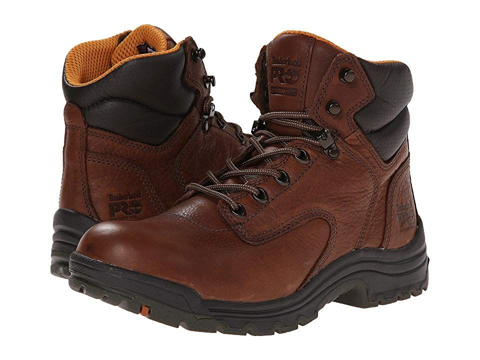 Timberland PRO TiTAN(r) 6 Soft Toe - Women's Work Boots : Coffee Full-Grain Leather : The incredible lightweight and cushioned TiTAN 6 Soft Toe boot from Timberland PRO will keep you comfy all day at work. Style number: 5539821. Premium full grain leather upper. Constructed on a women's TITAN last for superior fit. Traditional lace-up design with cast metal top hooks for increased durability. Features the PowerFit comfort system with breathable, moisture-wicking air mesh lining and integral anti