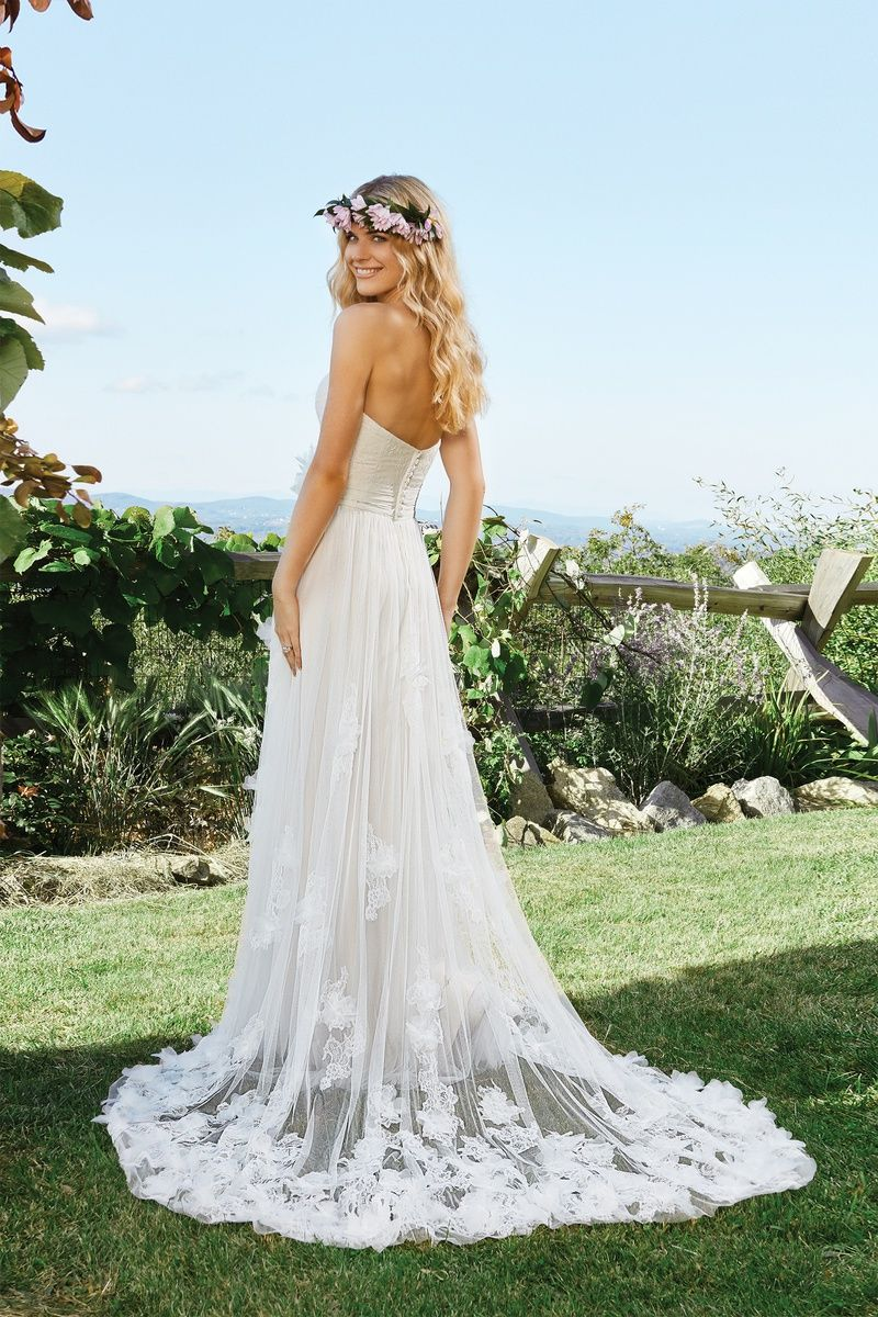 Lillian west tulle aline gown with flower appliqués and sweetheart