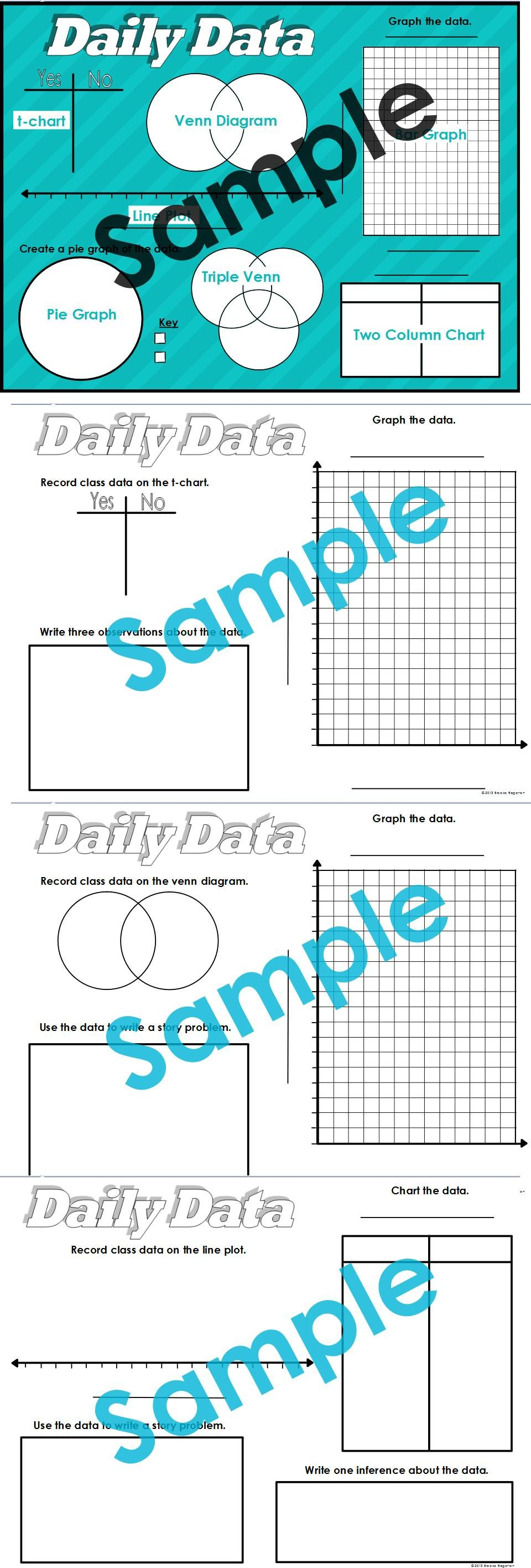 Daily Data Graphing Printables Students Use Class Data To Create Bar Graphs Pie Graphs And Charts Students Use The Graphing Math Workshop Science Lessons [ 2832 x 960 Pixel ]