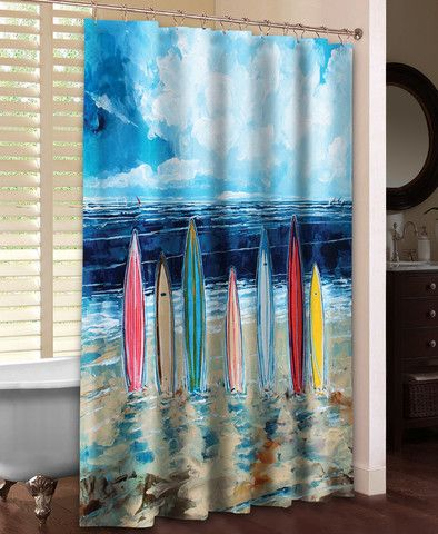 Surfboards Shower Curtain Boho Beach House Decor Beachy Room