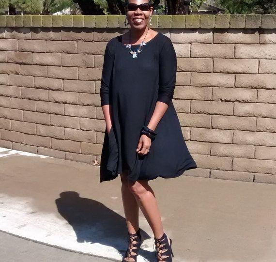 Plus size swing dress black