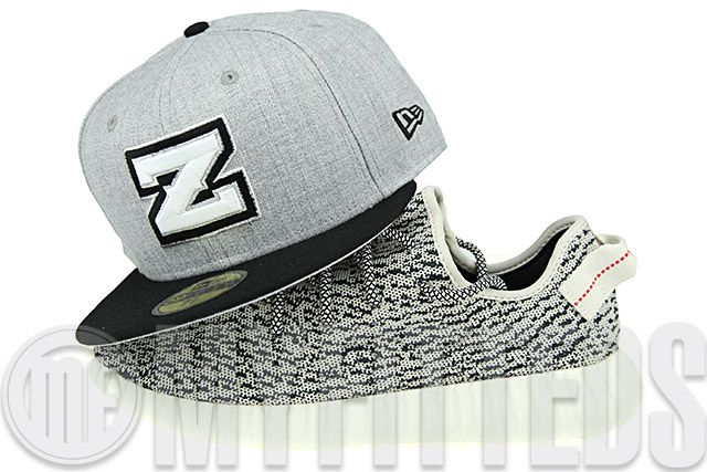 Yeezy Boosts New Era 59Fifty Fitted Hat New Orleans Zephyrs Heather Gray Black