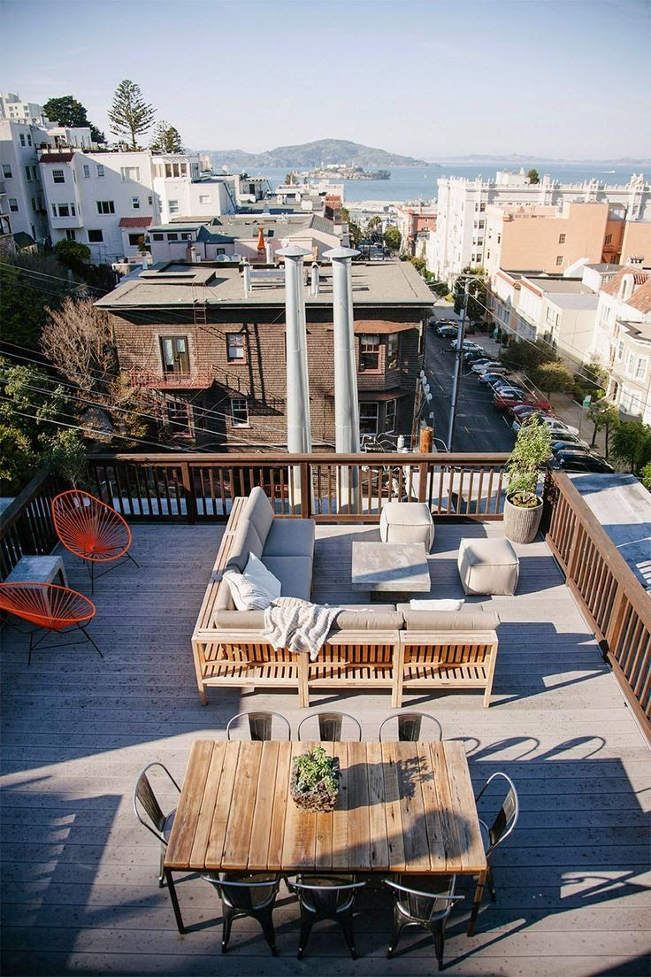 Using Modern Deck Designs You Can Convert Your Garage Rooftop Into A Stylish Deck You Can Use Wooden Rooftop Terrace Design Roof Terrace Design Rooftop Patio