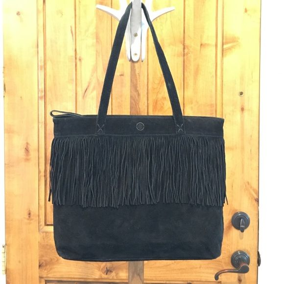 Fringe Max Studio Black Suede Purse