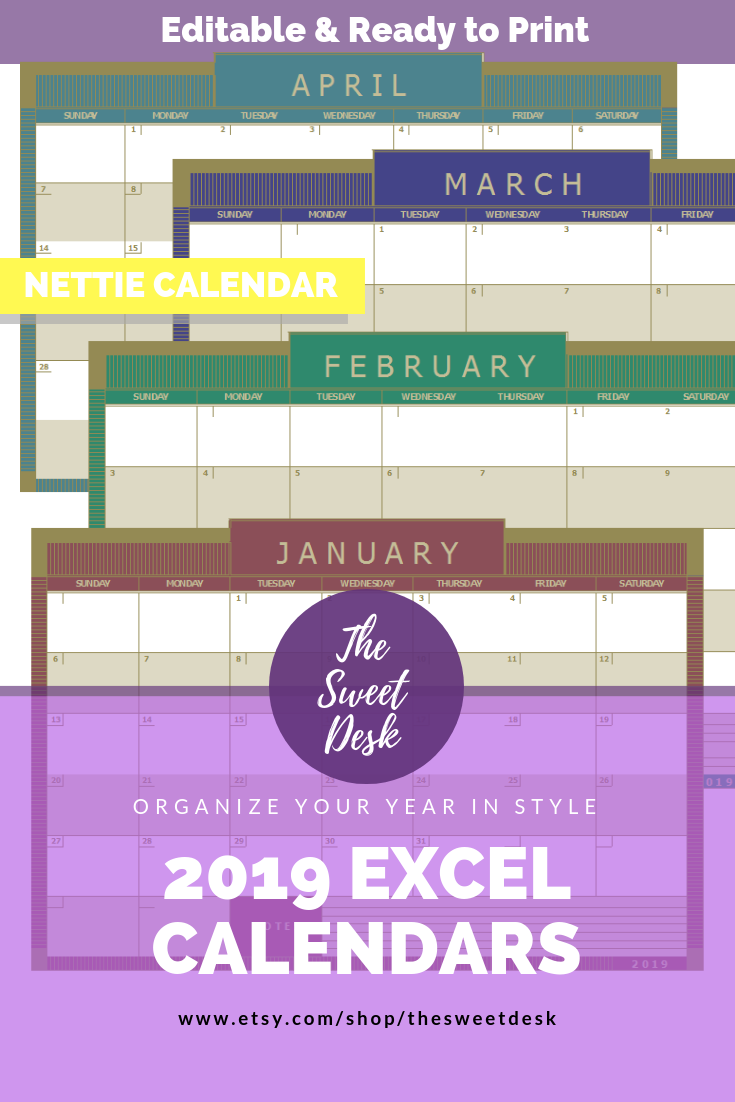 2019 excel calendar sunday start nettie editable landscape