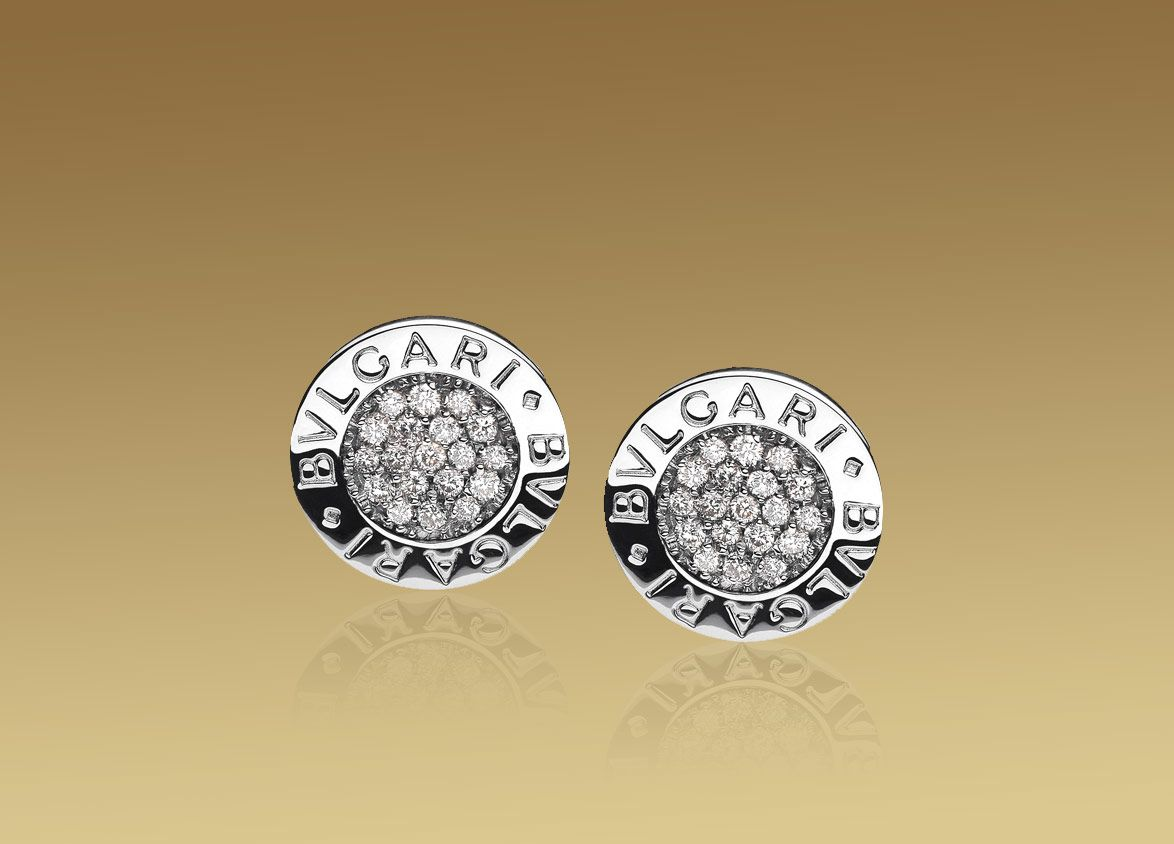 bvlgari bvlgari earrings in 18kt white gold with pav diamonds bulgari
