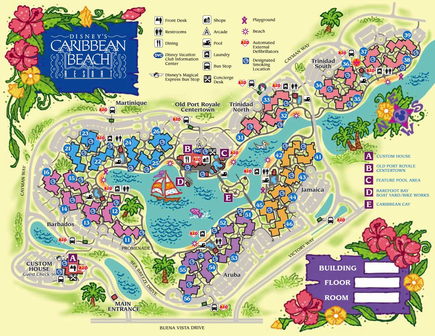 Disney Resorts Caribbean Beach Resort Map