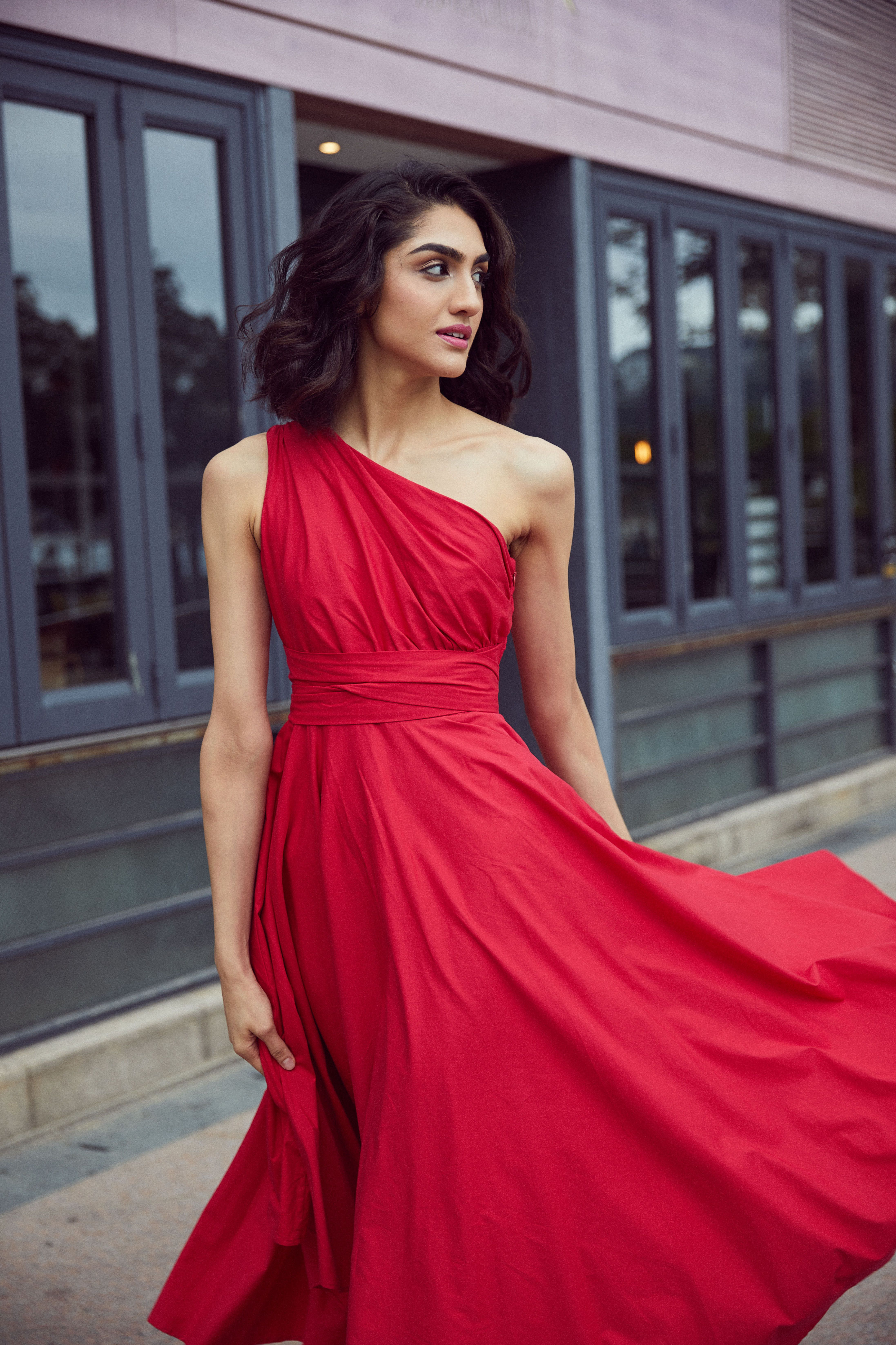 Bright Red One Shoulder Cotton Midi Dress Red Midi Dress Cotton Midi Dress Red Wedding Dresses,Wedding Ceremony Blazer Wedding Dresses For Men