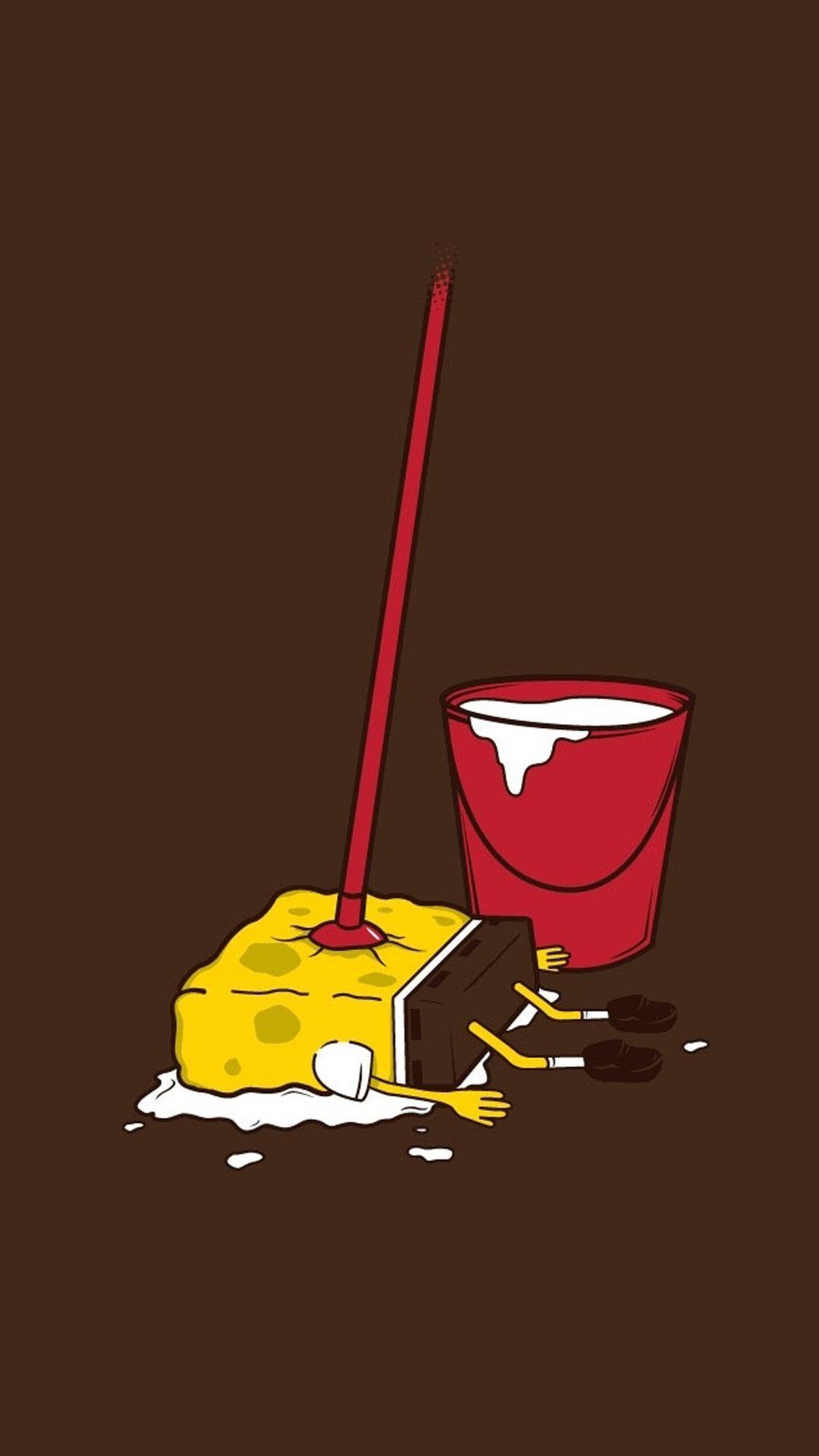 Spongemop Squarepants Funny Cartoon Iphone Wallpapers Repin For