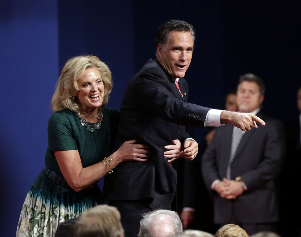 """Ann has so little confidence in her man's """"stability"""" she has to hold on to him to keep him from falling off a stage... how embarrassing is that, Mitt?"""
