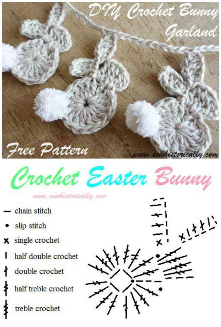 Photo of 40 Free Crochet Bunny Patterns #crochetbunnypattern Crochet Easter Bunny Garland