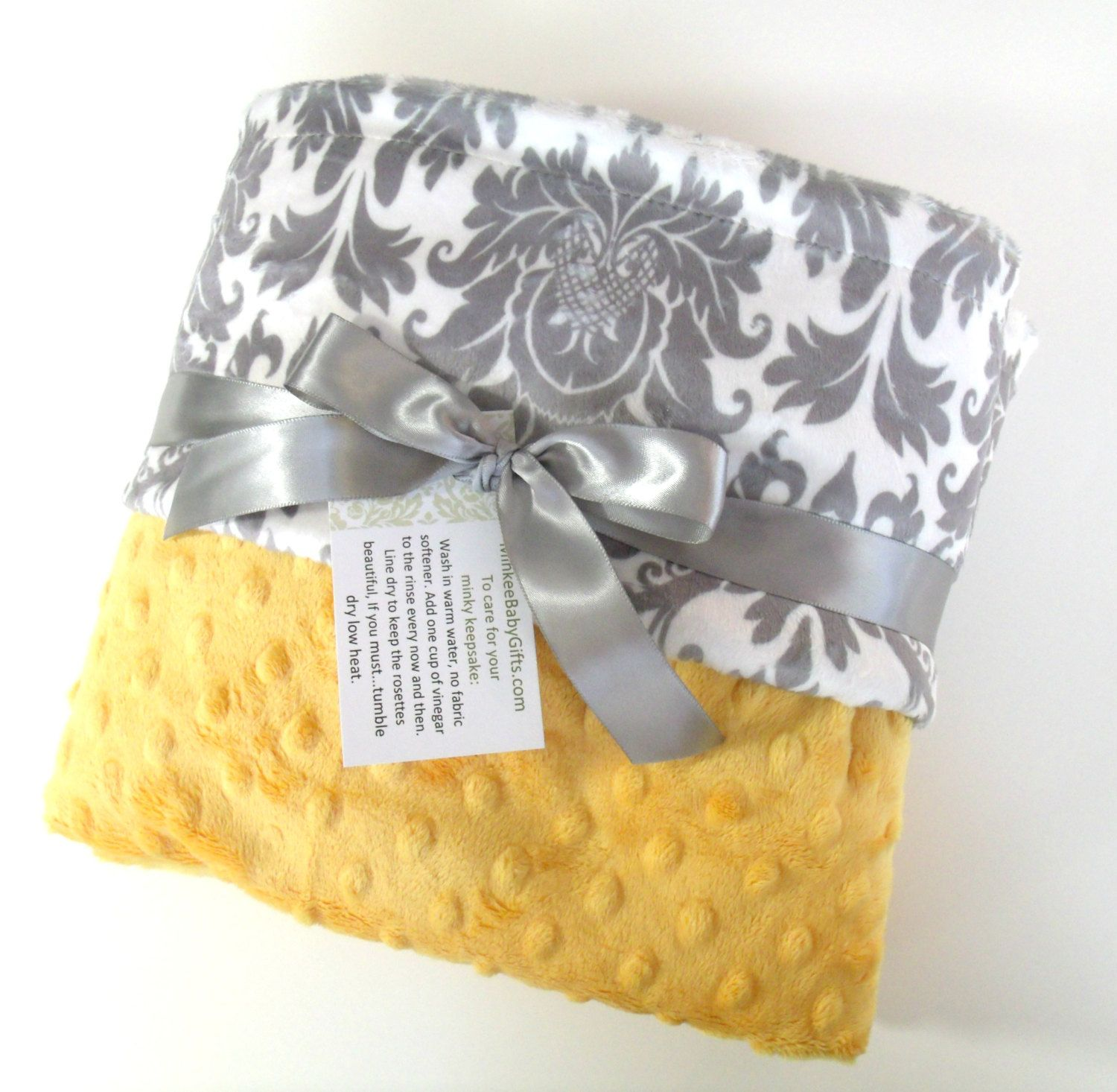 Saffron Yellow and Gray Damask Minky Baby Blanket - for boy or girl by MinkyBabyGifts on Etsy