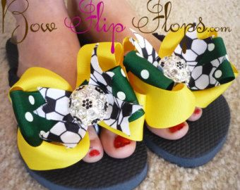 3f6eae4f59a80a Soccer Bling Flip Flops Bow Bling Rhinestone Brazil Colors Buckle Girl  Boutique Sports Ribbon Flip Flops