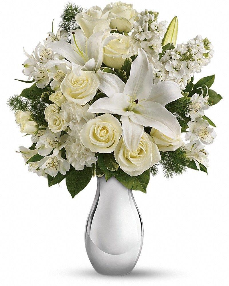 Shimmering White Bouquet White flower arrangements