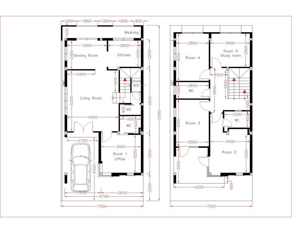 Home Design Plan 7x15m With 5 Bedrooms Samphoas Plan Floor Plan Design Home Design Plan House Design