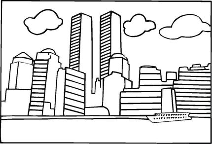 World Trade Center Before 9 11 Coloring Page Preschool Rectangles