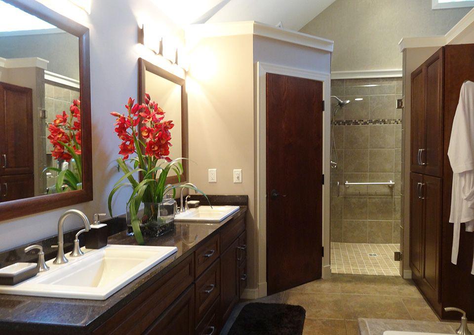 Medallion cherry cabinets, tiled floors, bubble massage tub, toilet ...