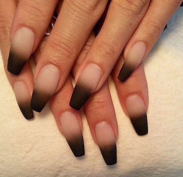 Black Matte Ombre Nails Negler Design Easy