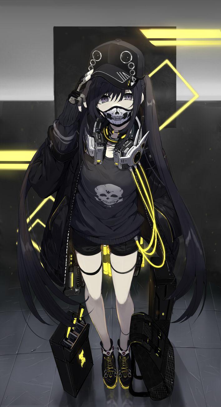 Artist Touzai Devushka Maska Chernyj Kepka Naushniki Anime