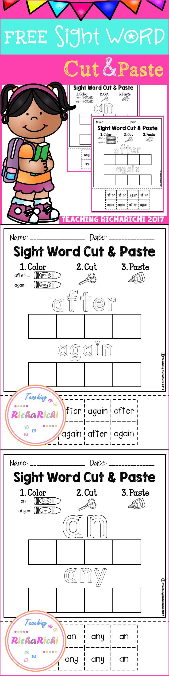 worksheet Pre K Sight Words Worksheets freebies free kindergarten activities pre k sight word cut and paste worksheets first grade inside you will find 3 pages of each page