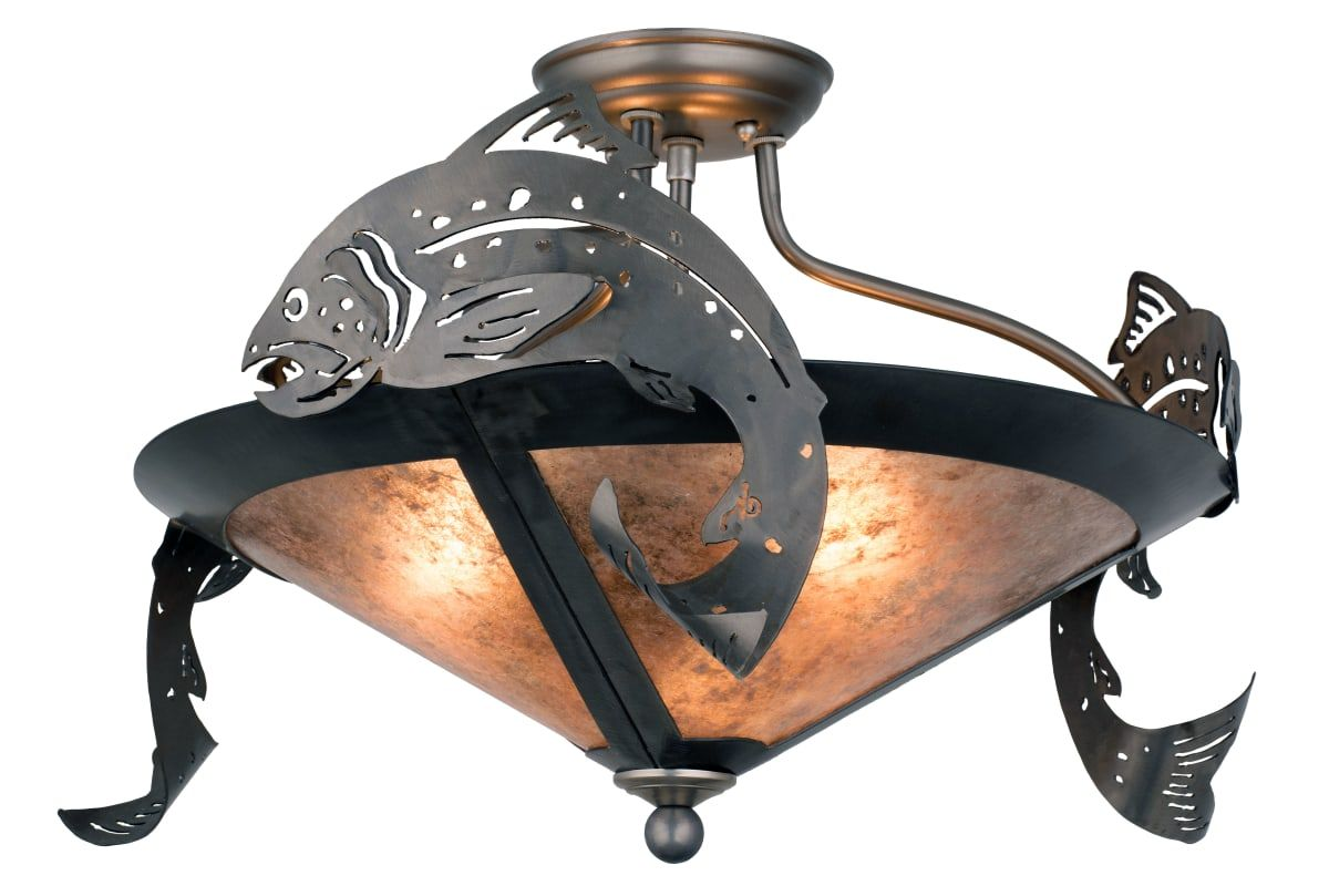 """Meyda Tiffany 51074 Trout 3 Light 18"""" Wide Semi Flush Ceiling Fixture with Silve Indoor Lighting Ceiling Fixtures Semi-Flush"""