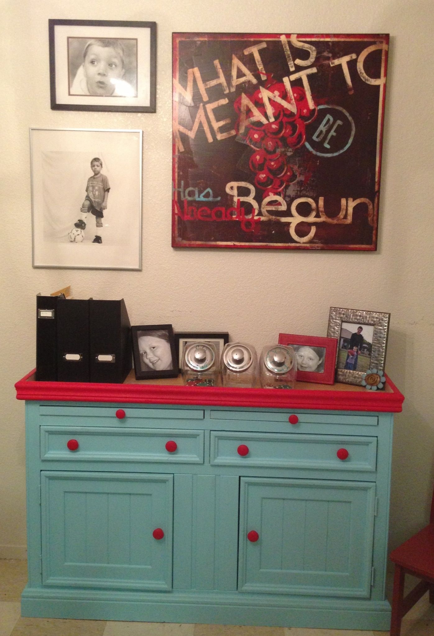 red & teal old Fish Tank stand turned Art Homework supply cabinet