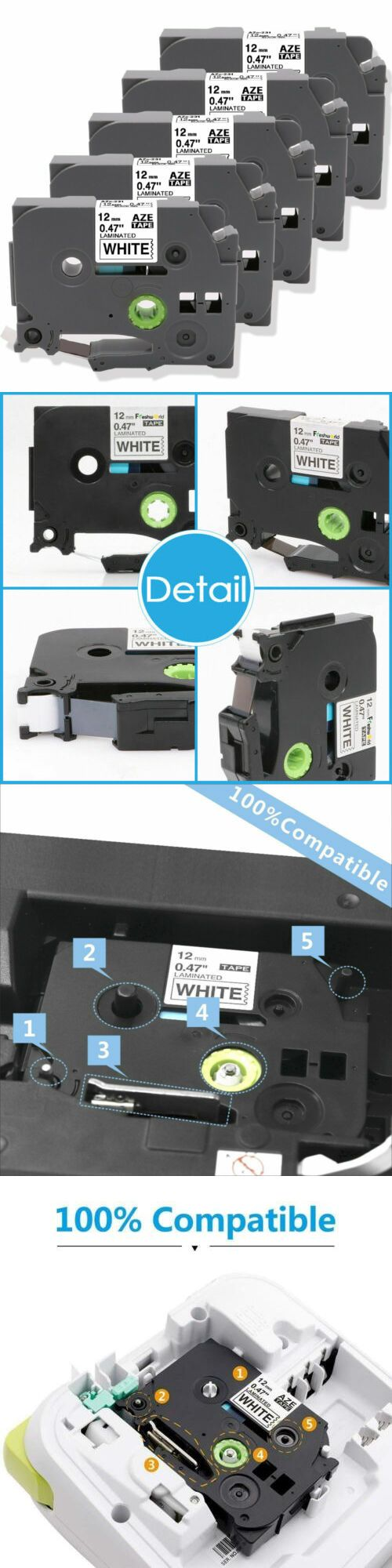 Other Ink Toner And Paper 175705 5pk 12mm Compatible For Brother P Touch Tz 231 Tze 231 Pt D210 Label Maker Tape B Ink Toner Label Maker Tape Label Printer
