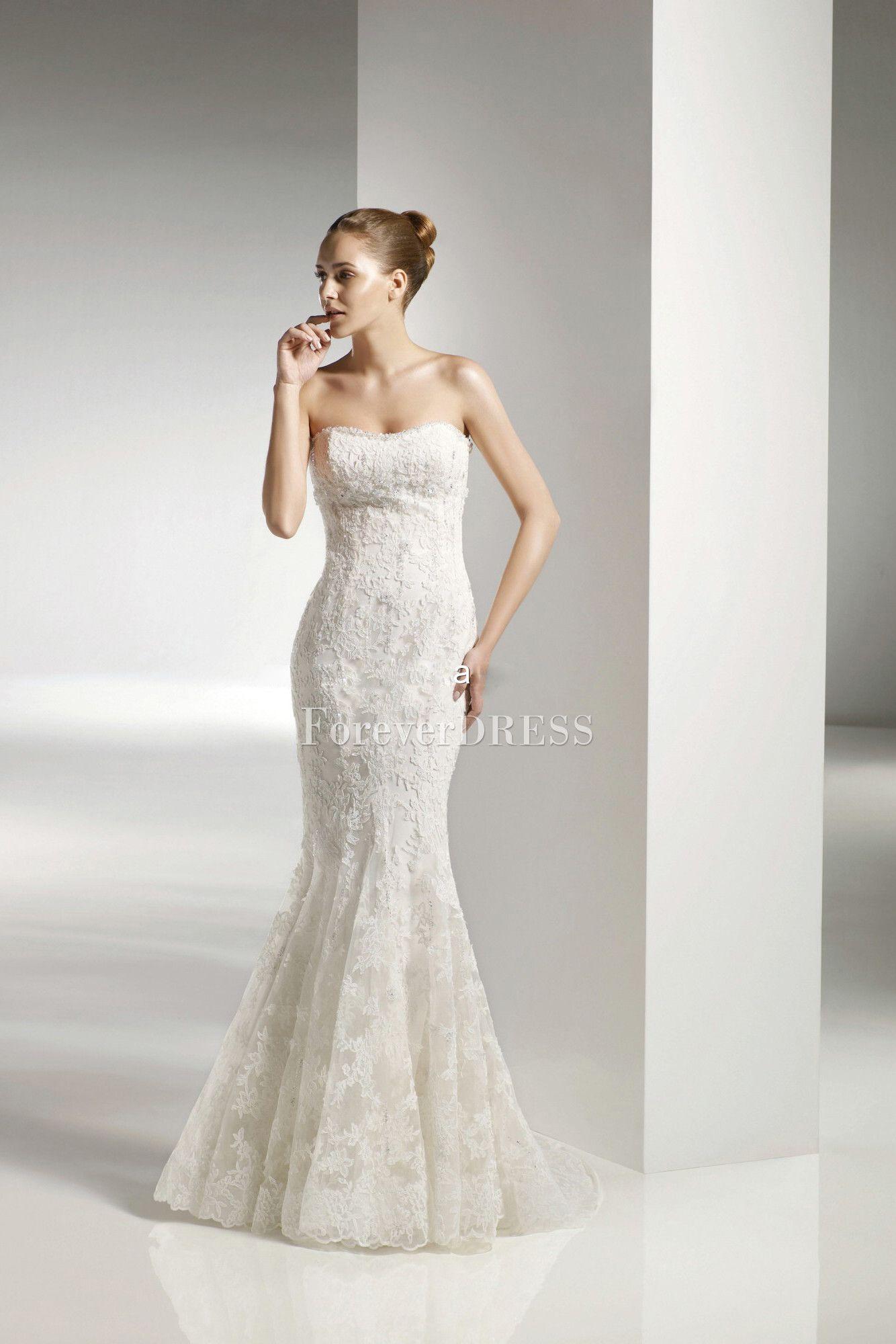 Lace Illusion Overlay Mermaid Trumpet Style Skirt Wedding Dress