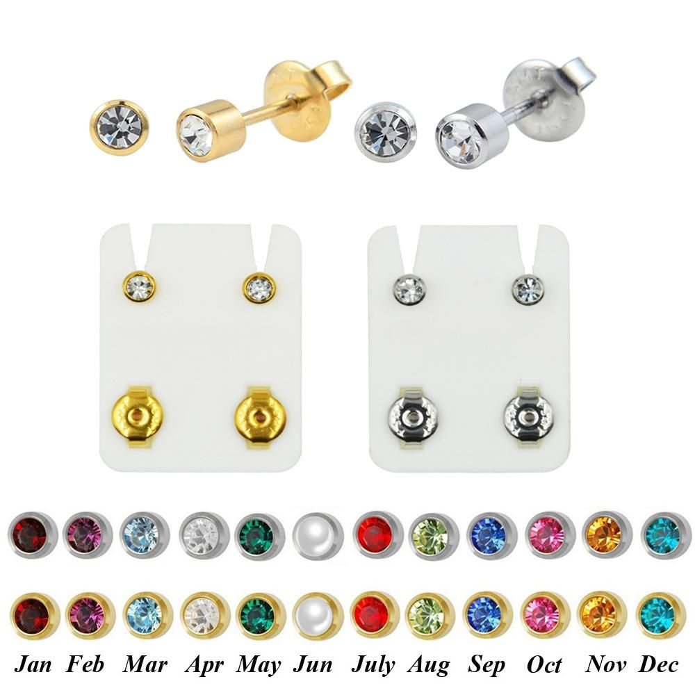 840715530 PAIR Surgical Steel Birthstone CZ Ear Stud Earrings Studs Studex Tragus  Cartilage Piercing Professional for Earring