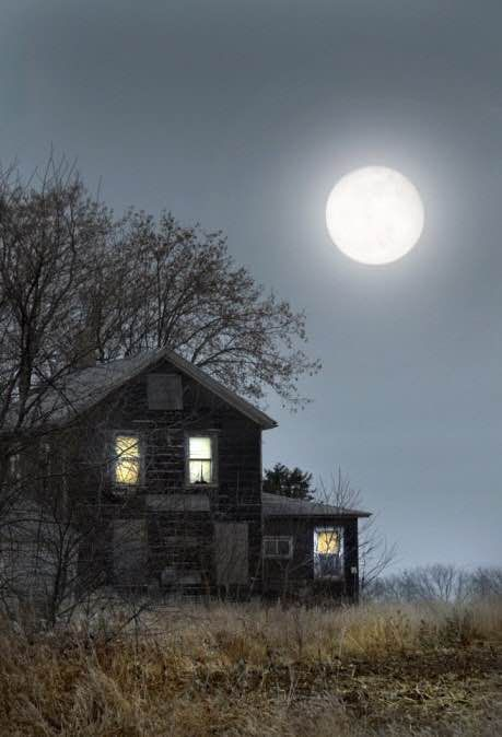 Old house and moon