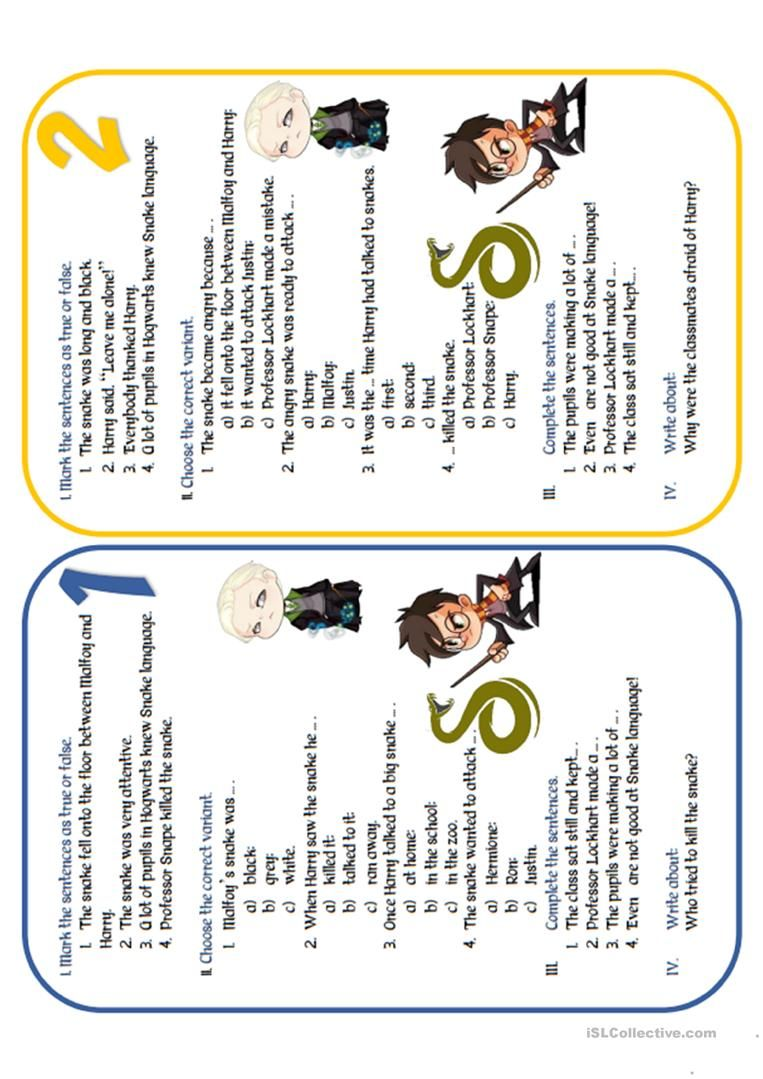 Wizard Duel Harry Potter Vs Draco Malfoy Parseltongue English Esl Worksheets For Distance Learning A Harry Potter Lessons Parseltongue Harry Potter English [ 1079 x 763 Pixel ]