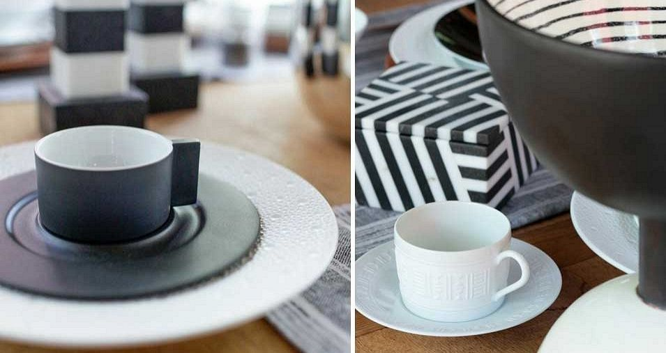 Hermesso Espresso Cup and Saucer, Egee Tea Cup and Saucer both by Hermes. Black and White Box by Kelly Wearstler.
