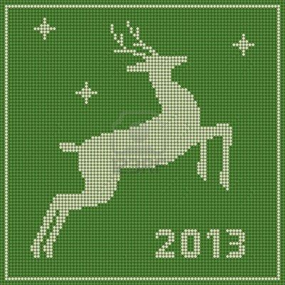 Traditional Christmas Embroidery Pattern With A Deer Royalty Free