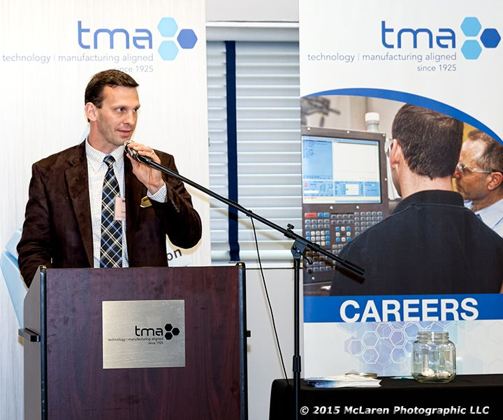 Michael Sharp, Sandvik Coromant speaks at Related Theory Graduation Banquet and Ceremony held at the TMA headquarters in Schaumburg on 5-20-15. Photo credit © 2015 McLaren Photographic LLC #manufacturingVideo