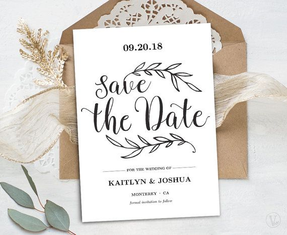 Printable Save The Date Card Template Kraft Save The Date Card