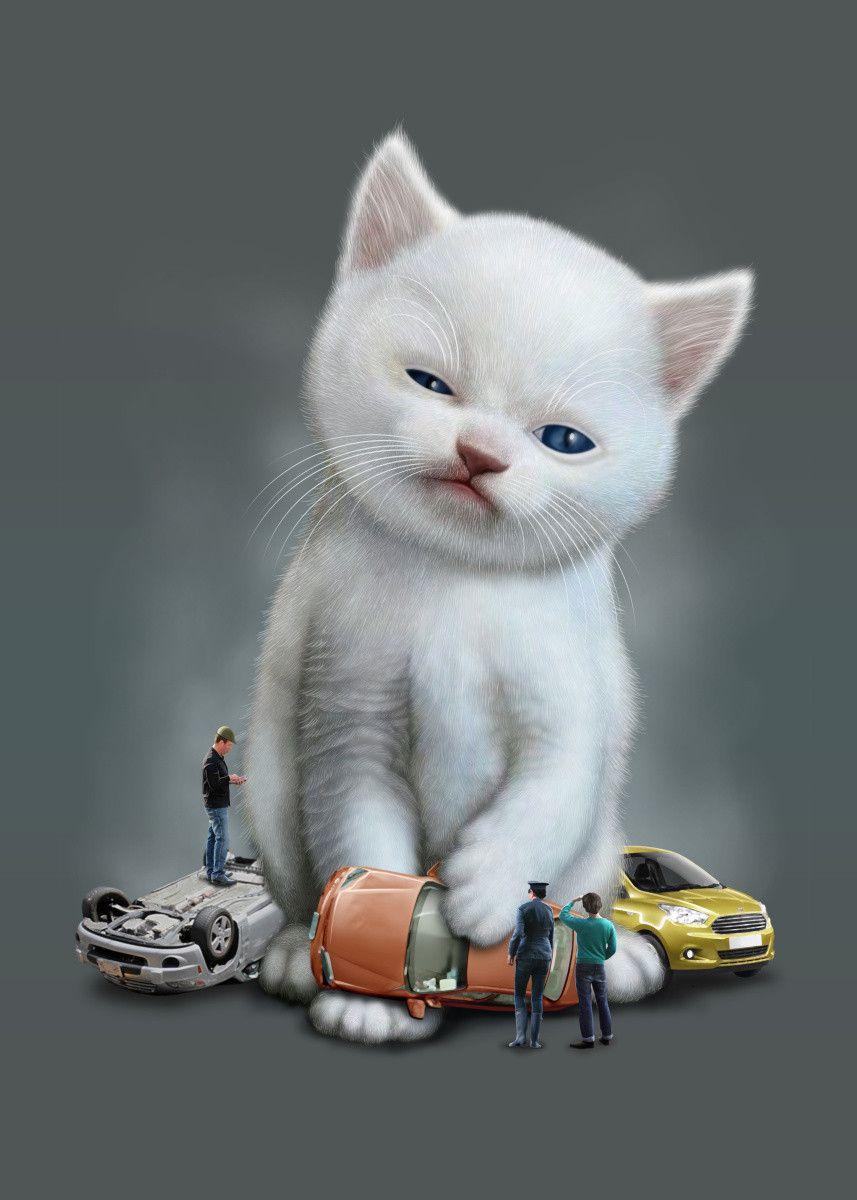 Kitten Vs Cars Animals Poster Print Metal Posters In 2020 Cat Posters Animal Posters Cat Illustration