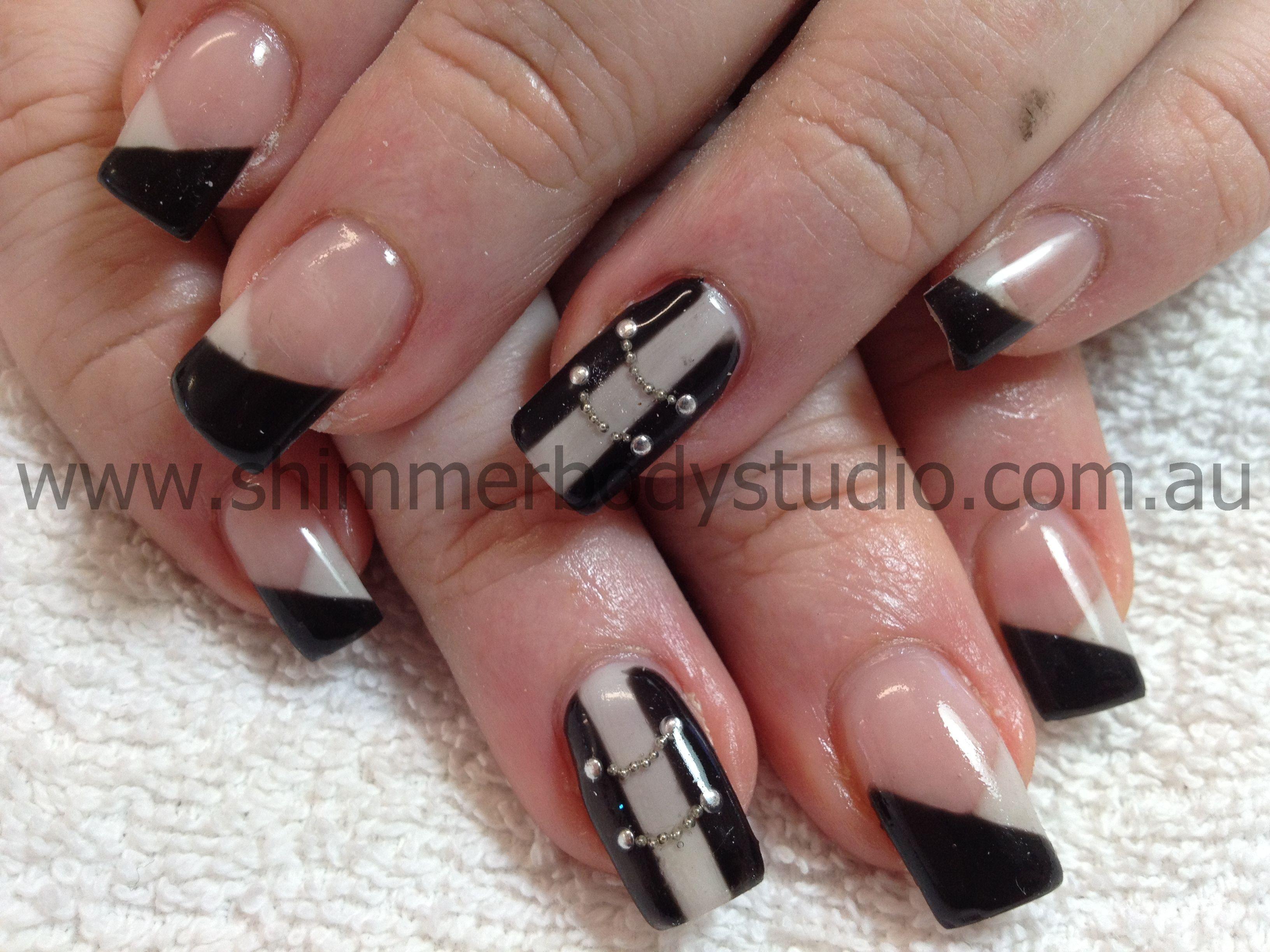 Gel Nails Black And White Nails Chain Nails Corset Nails Vest