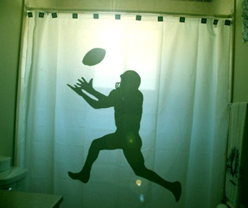 Football Shower Curtain Kids Bathroom Decor Bath Field Goal Kicker Player Rugby Superbowl Ball Game Sport