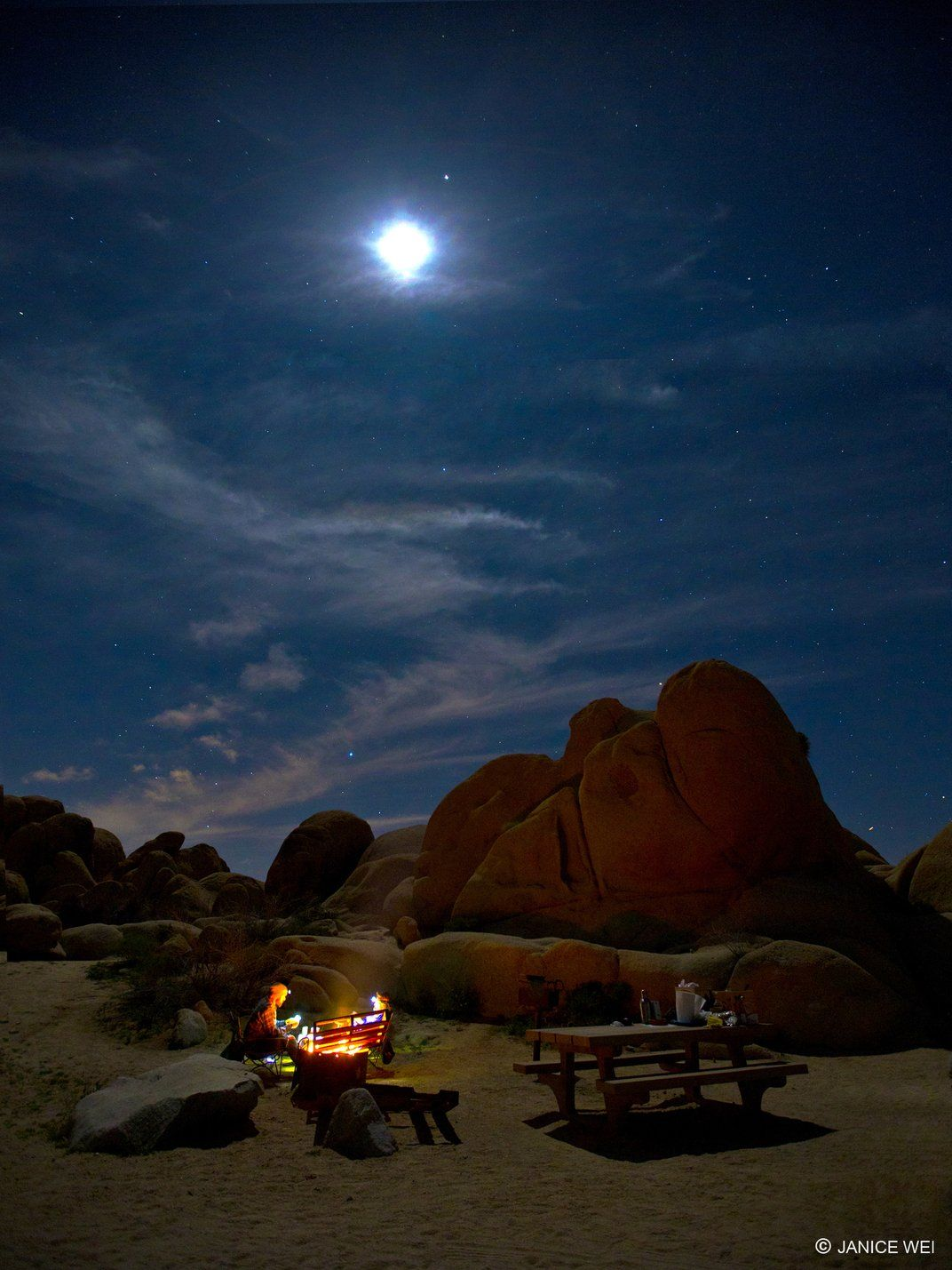 I can recall my happiest moments camping, as in this photo by Janice Wei, at Joshua Tree National Park, an amazing experience. All camp sites are next to the beautiful rock formations. Read more: http://www.smithsonianmag.com/photocontest/detail/american-experience/camp-fire-under-the-moonlight/#UR6SvJJkO7XkvF7z.99