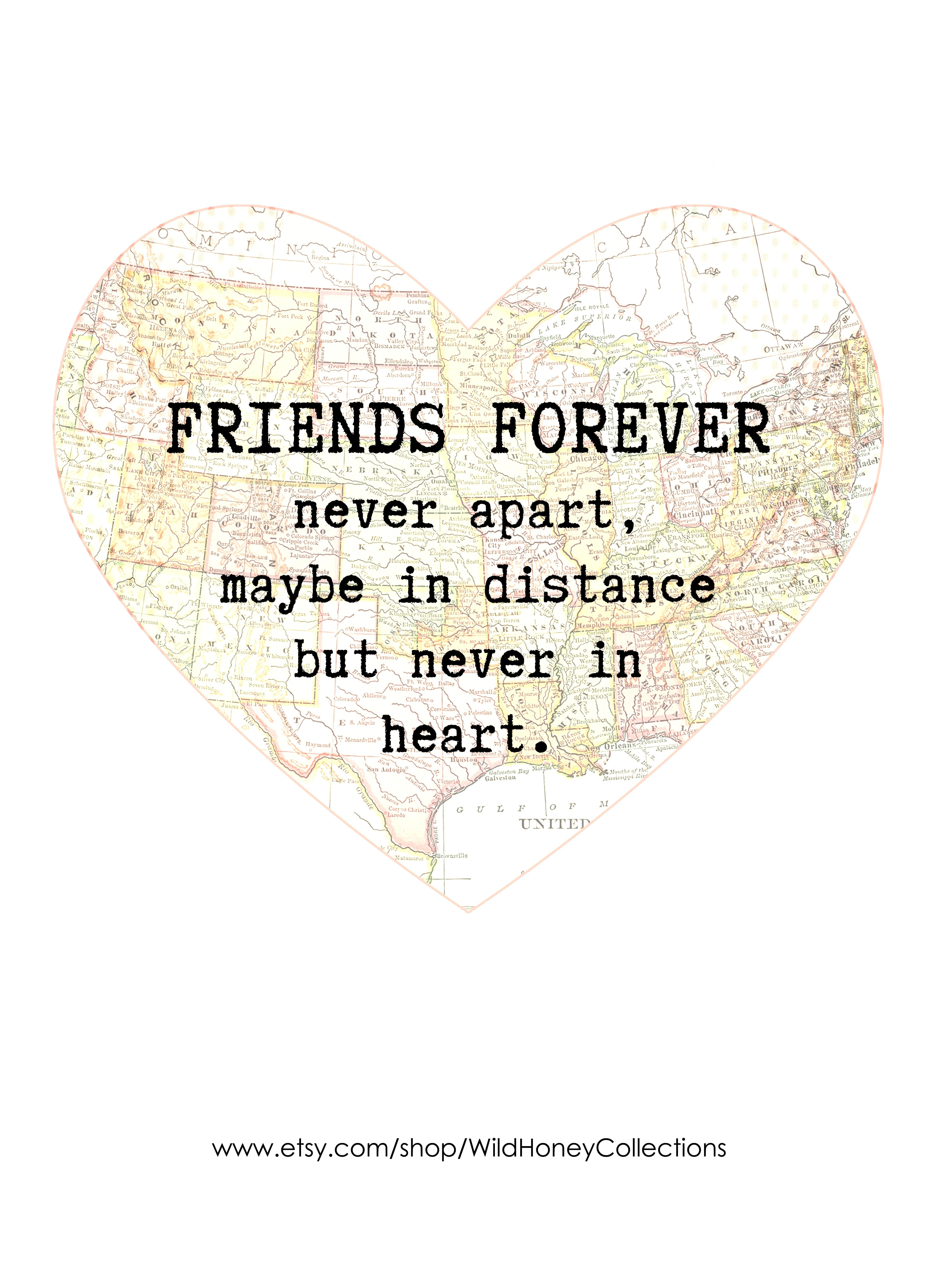 Friends Forever | Long Distance Friendship Quote | Wild Honey Collections - Etsy Long distance frie