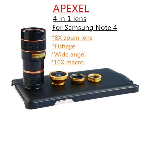Apexel 4 In 1 Camera Lens For Samsung Galaxy Note 4 Zoom