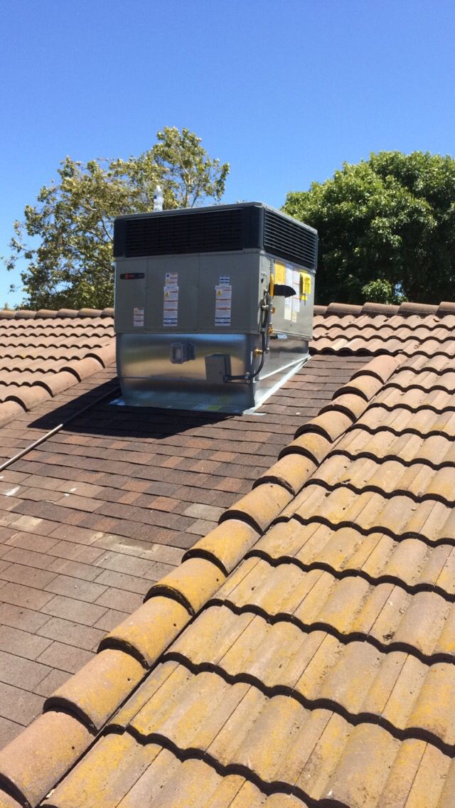 After Picture Of Roof Repair Around A C Unit Tile Roof With Asphalt Shingle Walking Pad Roof Repair Roofing Roof Panels