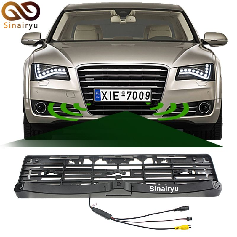 Universal License Plate Frame Auto Front Camera Car Rearview Reverse Camera With Two Parking Sensors Reversing Radar Car License Plate Frames Car Camera Car