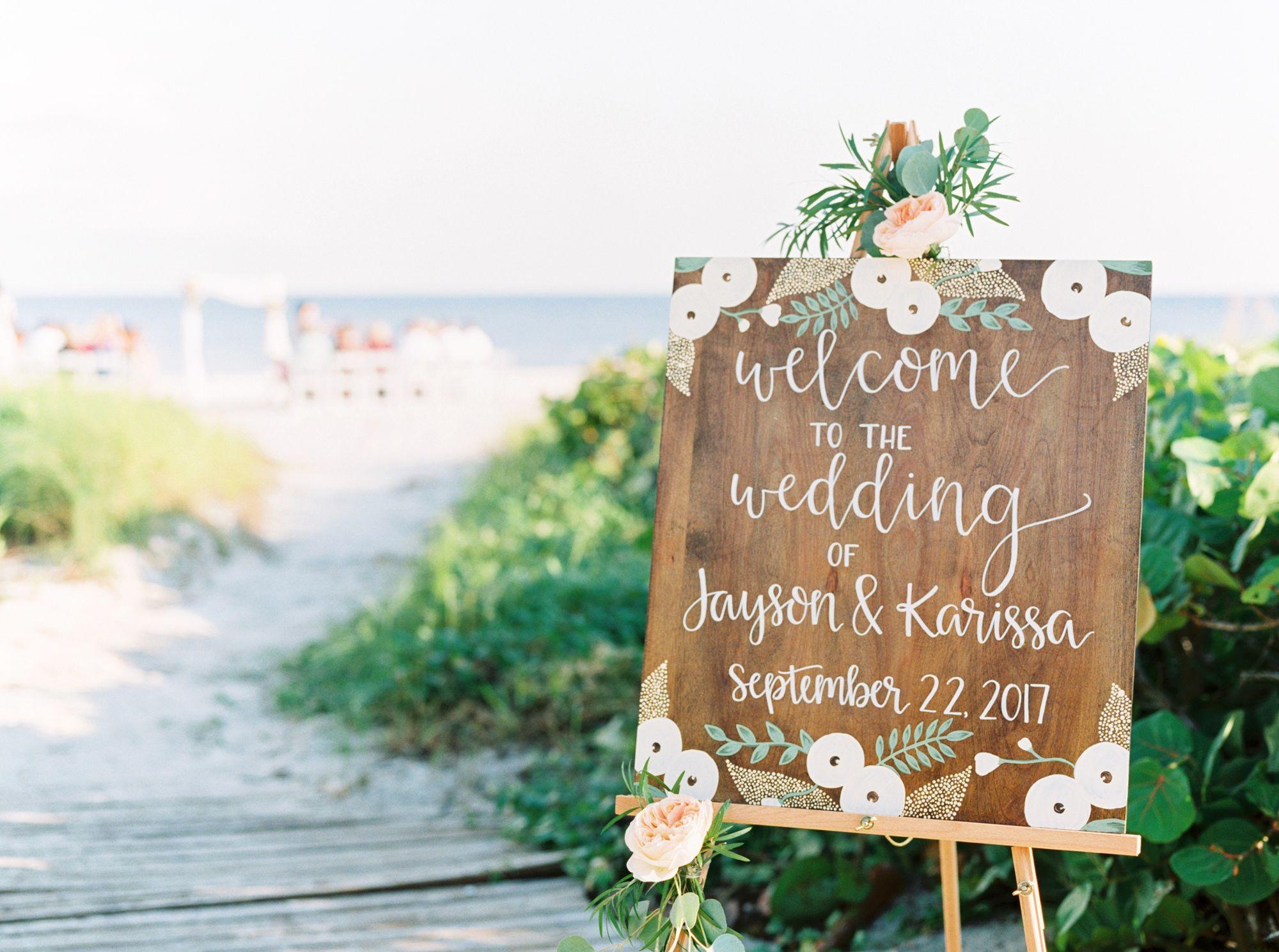 Beach Wedding Sign inspiration.   Beach wedding signs, Beach ...